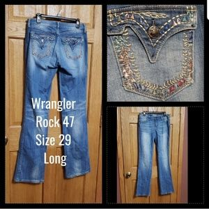 Wrangler Rock 47 Jeans 29 Long Awesome Pockets